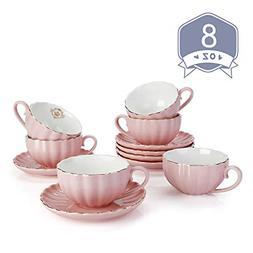 Tea Cups and Saucers with Gold Trim & Gift Box British Coffe