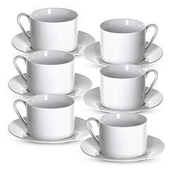 Klikel Tea Cups and Saucers Set | 12 Piece White Coffee Mug