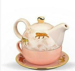 Pinky Up Tea for One Set Addison Bangladesh, Pink, Gold and