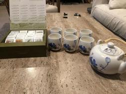 Tea Forte Teapot, Set Of Six Cups, Single Steeps Tea Chest A