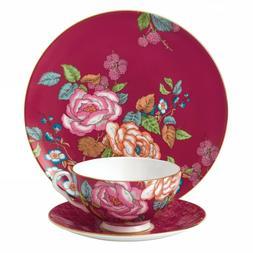 Wedgwood Tea Garden Raspberry Teacup Saucer Plate 3 Piece Se