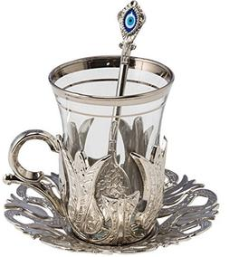 24 Pieces Tea Glasses with Holders Spoons and Saucers Set of