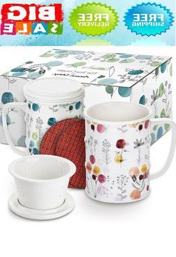 Tea Infuser Mug  14 oz. Porcelain Tea Cups with Lid