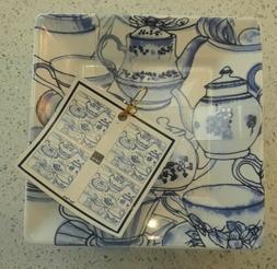 """Set of 4 222 Fifth Tea Party 5 1/2"""" Square Ceramic Dessert P"""