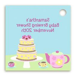 Tea Party - Personalized Baby Shower Card Stock Favor Tags -