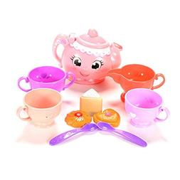 FunsLane Tea Party Set for Preschool Kids, Plastic Teapot an