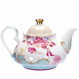 Tea Pot Bone China Vintage Royal Style Teapot Red Floral Gif