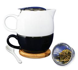 Janazala Tea for One With Ceramic Tea Cup and Teapot Infuser