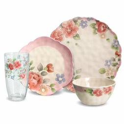 Pfaltzgraff Tea Rose Melamine Outdoor Dinnerware Set