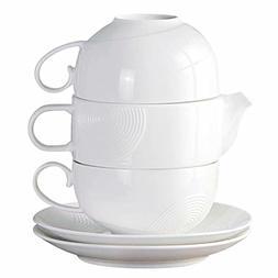 Tea Service Set for 2, 77L Elegant Design Ceramic Tea Set fo