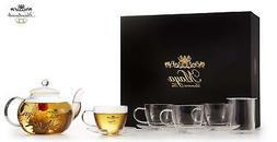 Maya Luxurious Tea Accessories Box Set With Glass Teapot , I