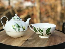 Jameson & Tailor Tea Set for One Pot and Cup Decor Floral Ye