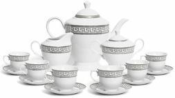 Royalty Porcelain 17-pc Tea Set for 6, Czech Porcelain