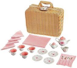 Tea Set Basket For Little Girls 8 Year And Older Porcelain T