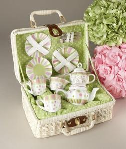 Tea Set is Decorated with Green & Pink Stripes & Polka Dots