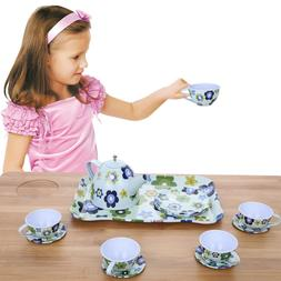 Tea Set for Kids Toys Play Pretend Party Fairy Tale Tin Tea
