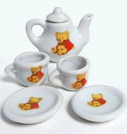 TEA SET Miniature Porcelain Bear Teapot Collector Play Girl