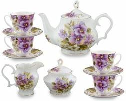 Gracie Bone China 11-Piece Tea Set, Purple Pansy