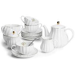 Amazingware Tea Set - Tea Cup & Saucer Set Service for 6, wi