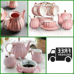 Tea Set Vintage Cup Teapot Coffee Saucers Set Porcelain 22 P