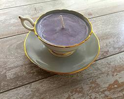 Teacup Candle - Vintage Coalport China Grey with Floral Desi