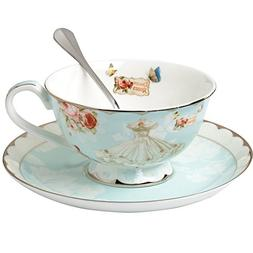 AWHOME Teacup and Saucer and Spoon Sets Vintage Royal Bone C