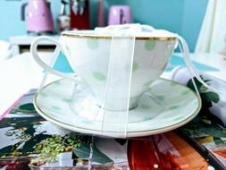 MERITAGE Teacup Set Of Two  White Mint Blue & Gold Polka Dot