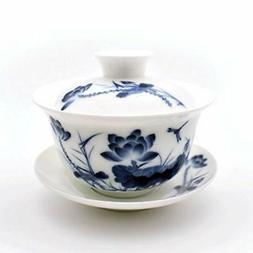 Teacups set,,Chinese Traditional Teaware Blue and White Porc