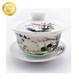 Teacups set,QMFIVE,Chinese Traditional Teaware Blue and Whit