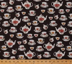 Teacups Teapots Rose Tea Set Afternoon Tea Brown Cotton Fabr