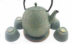 Happy Sales Teal Gold Color Cast Iron Tea set