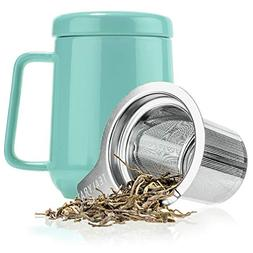 Tealyra - Peak Ceramic Turquoise Tea Cup Infuser - 16-ounce