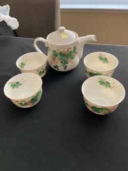 "Tajimi Teapot & 4 Tea Cups Set Painted ""Grape Vines "" Made"