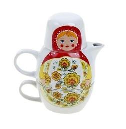 "Teapot and Mug Tea Set Nesting Doll ""Matryoshka Gorodeckaya"""