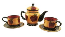 3-pc Teaset, tea set collection country apple