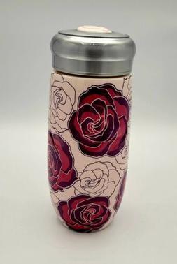 Teavana Stoneware Travel Mug Roses with Infuser Basket - New