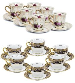 Thun Porcelain 12pc Espresso Tea/Coffee Set, 24K Gold Czech