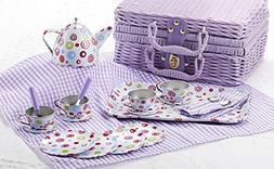 Delton Products Tin 20pc Tea Set in Basket, Polka,Purple