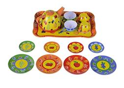 MAGIKON Tin Tea Set , Pretend Play Tea Toy Set with Fruits P