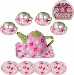 IQ Toys Tin Tea Set and Carry Case for Little Girls Pretend