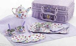 tin 20pc tea set in basket, polka