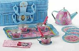 Delton Products Tin 19 Pieces Tea Set in Basket Tea Party Se