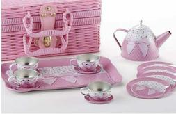 Delton Products Tin 15 Pieces Tea Set in Basket Pink Bow Ser
