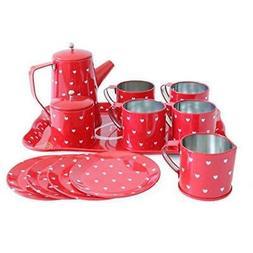 Bissport Tin Tea Set Toy-Tea Kitchen Playset For Kids Girls