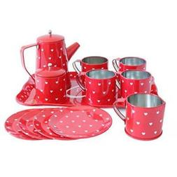Bissport Tin Tea Set Toy-Tea Kitchen Playset For Kids Girls