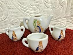 TINY Peter Flopsy Rabbit Ceramic Miniature Tea Set Japan. Be