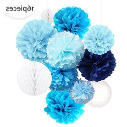 Tissue Paper Flowers Pom Poms Decorations - Bright Colorful