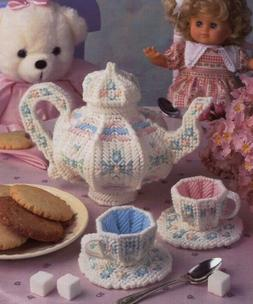 Toy Tea Party Tea Set Annie's Plastic Canvas PATTERN/INSTRUC