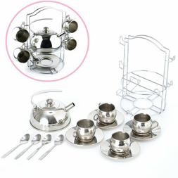 Toy Tea Set 14pcs Stainless Steel Teapot Pretend Play Kitche
