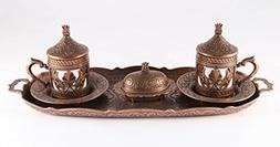 Traditional Design Brass Cast Turkish Coffee Set, Espresso S